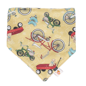 Bandana Bib - How We Roll Print - smartbottoms - 100% cotton and polyester bib - Super absorbent and cute bib - Bikes and roller skates print bib