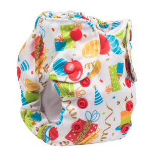 Smart Bottoms - Born Smart 2.0 newborn cloth diaper - Birthday Party - Balloons and streamers party print cloth diaper - organic cotton cloth diaper