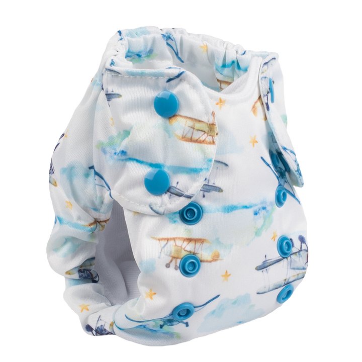 Smart Bottoms - Born Smart 2.0 newborn cloth diaper - First Flight - Vintage airplanes cloth diaper print - organic cotton newborn cloth diaper