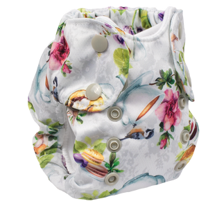 Smart Bottoms - Born Smart cloth diaper - Tea Party - English tea time print newborn cloth diaper