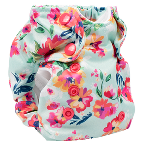 Smart Bottoms - Born Smart 2.0 cloth diaper - Aqua Floral - Organic Cotton Newborn Cloth Diaper - cloth diaper