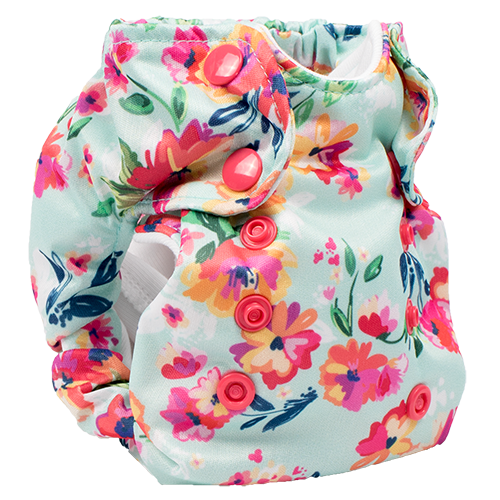 Smart Bottoms - Born Smart 2.0 newborn cloth diaper - Aqua Floral - blue and pink floral diaper print - organic cotton cloth diaper