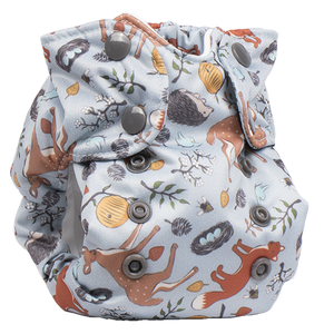 Smart Bottoms - Born Smart New Born Diaper - Organic cloth diaper - Forest Friends - Forest animals print newborn diaper