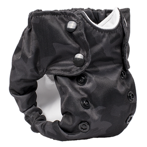 Smart Bottoms - Born Smart New Born Diaper - Organic cloth diaper - Incognito print - Black Camoflage print newborn diaper