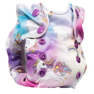 Smart Bottoms - Born Smart 2.0 newborn cloth diaper - Newborn cloth diaper - Chasing Rainbows Print - Organic Cotton Newborn Cloth Diaper - Rainbows and unicorns cloth diaper