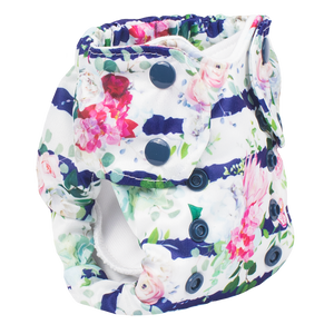 Smart Bottoms - Newborn Cloth diaper - Belle Blossom - Floral with blue stripe newborn cloth diaper