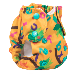 Smart Bottoms - Newborn Cloth Diaper - Born Smart 2.0 cloth diaper - Chicka Chicka Boom Boom - Yellow diaper with alphabet letters