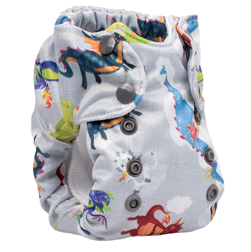 Smart Bottoms - Born Smart 2.0 newborn cloth diaper - Dragon Dreams  - Cute dragon print newborn cloth diaper print - organic cotton cloth diaper