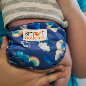 Smart Bottoms - Born Smart 2.0 newborn cloth diaper - Over the Rainbow print - blue with clouds and rainbows print newborn diaper print - organic cotton newborn cloth diaper