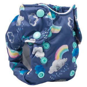 Smart Bottoms - Born Smart 2.0 newborn cloth diaper - Over the Rainbow - Clouds and rainbows cloth diaper print - organic cotton newborn cloth diaper