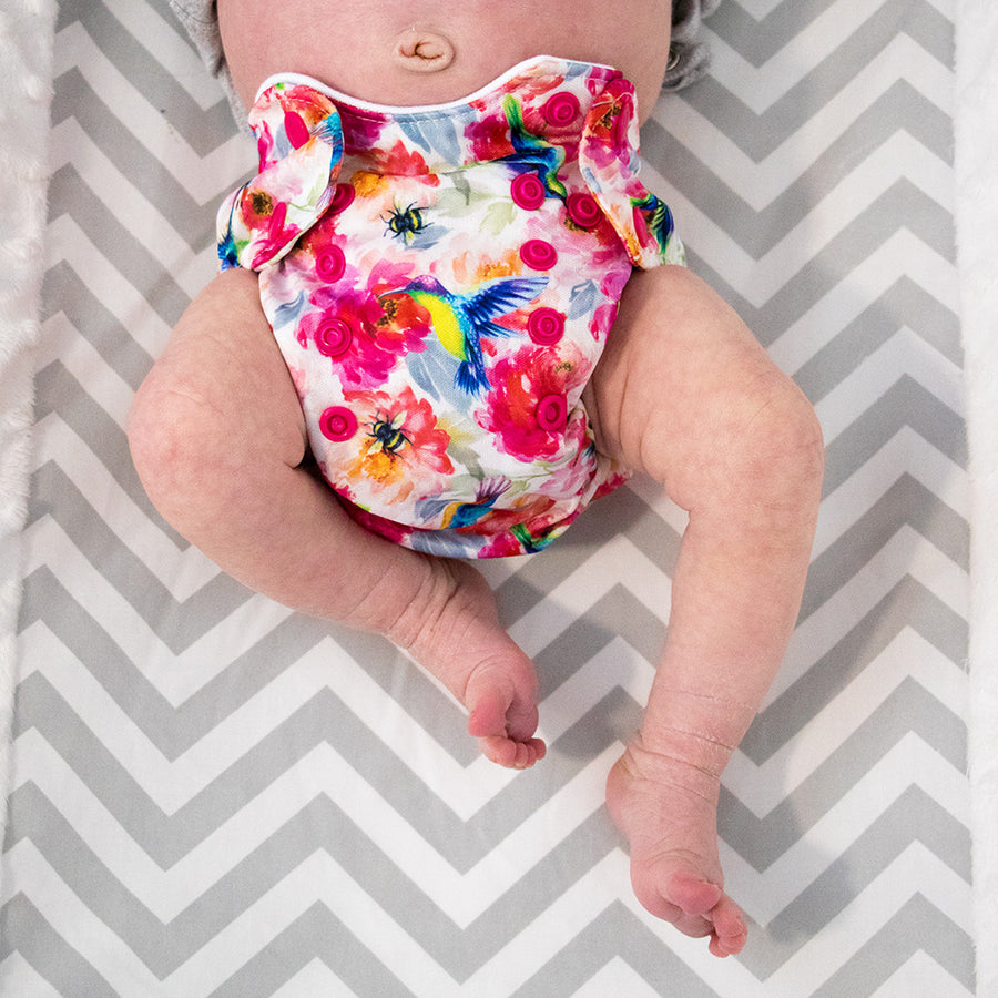 Smart Bottoms - Newborn Cloth Diaper - Shimmer hummingbirds and pink floral cloth diaper