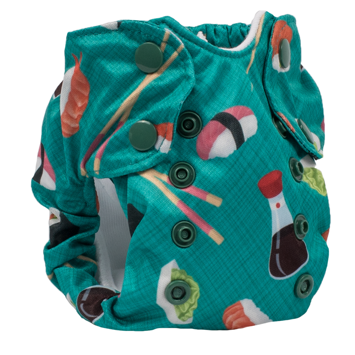 Smart Bottoms - Born Smart 2.0 newborn cloth diaper - You're My Soymate print cloth diaper -  Organic cotton cloth diaper - Teal green with sushi print cloth diaper