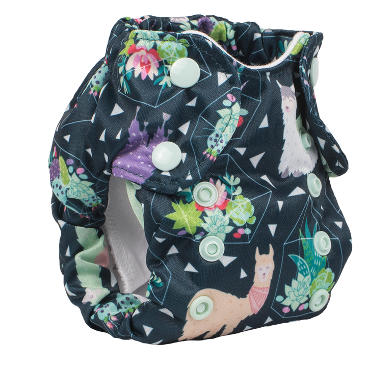 Smart Bottoms - Born Smart 2.0 - Tina llama print - newborn cloth diaper - green llamas print newborn cloth diaper