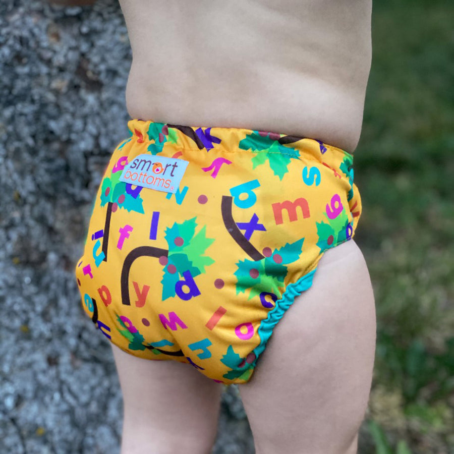 Smart Bottoms - Too Smart cloth diaper cover - all natural cloth diaper - Forest Chicka Chicka Boom Boom print - Yellow with alphabet letters cloth diaper cover print