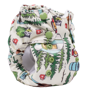 Smart Bottoms - Born Smart 2.0 newborn cloth diaper - Campfire Tails - outdoor animal print diaper print - organic cotton cloth diaper