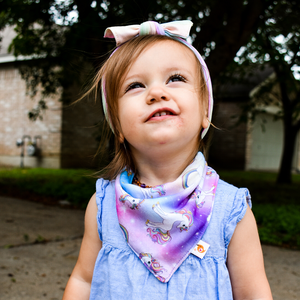 Bandana Bib - Chasing Rainbows - smartbottoms - Absorbent cotton bib - Rainbows and unicorns baby bib