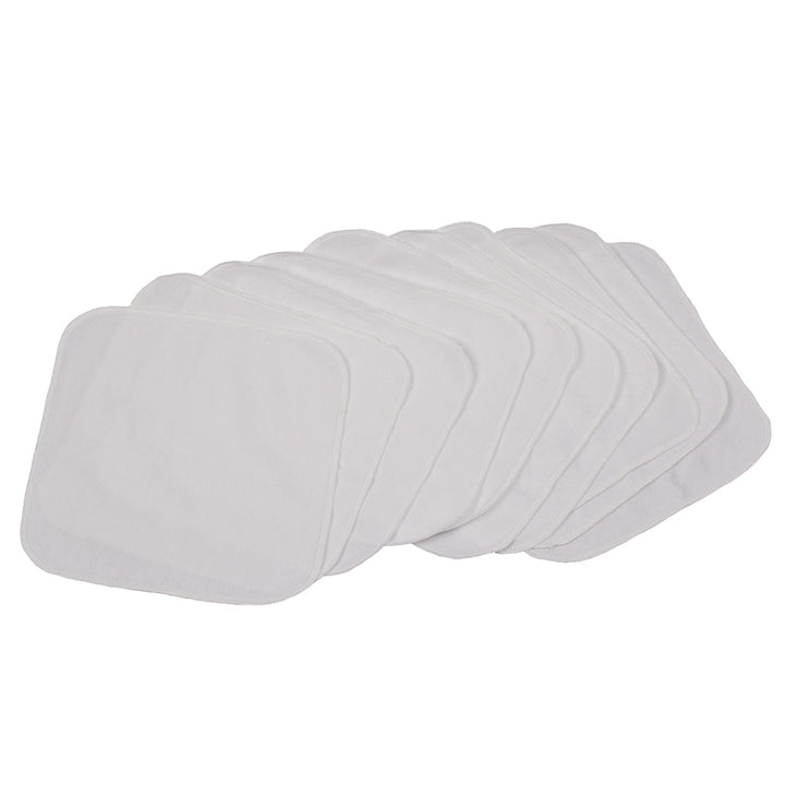 Quilted Cotton Reusable Wipes - 10 Pack Solid White