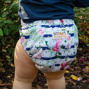 Smart Bottoms - Dream diaper 2.0 -  Belle Blossom - Floral with blue stripe newborn cloth diaper