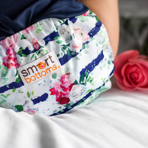 Smart Bottoms - Smart One 3.1 -  Belle Blossom - Floral with blue stripe newborn cloth diaper
