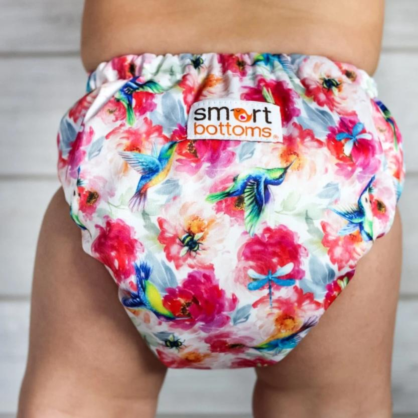 Smart Bottoms - Dream cloth diaper - Shimmer hummingbird and pink floral cloth diaper