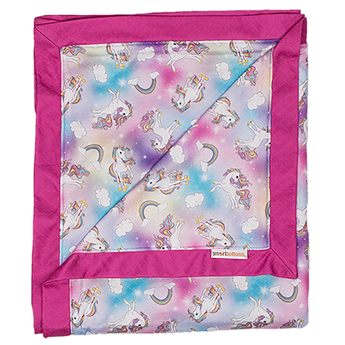 Smart Bottoms - Cuddle Blanket - Chasing Rainbows Print - Adult blanket - Children's blanket - Rainbows and unicorns print