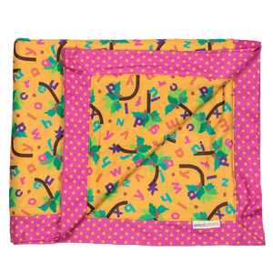 Smart Bottoms - Cuddle Blanket - Chicka Chicka Boom Boom - Yellow blanket with alphabet letters