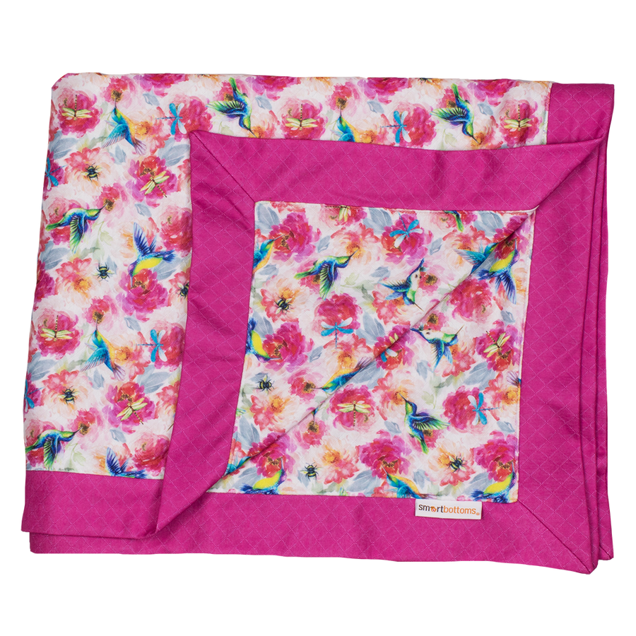 Smart Bottoms - Cuddle Blanket - Shimmer hummingbirds and pink floral blanket