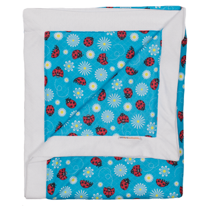 Smart Bottoms - Cuddle Blanket - Little Ladybugs - Adult blanket - Children's blanket - blue blanket with ladybugs