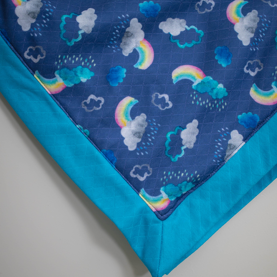 Smart Bottoms - Snuggle Blanket - Over the Rainbow Print - Adult blanket - Children's blanket - Cute clouds and rainbows print blanket