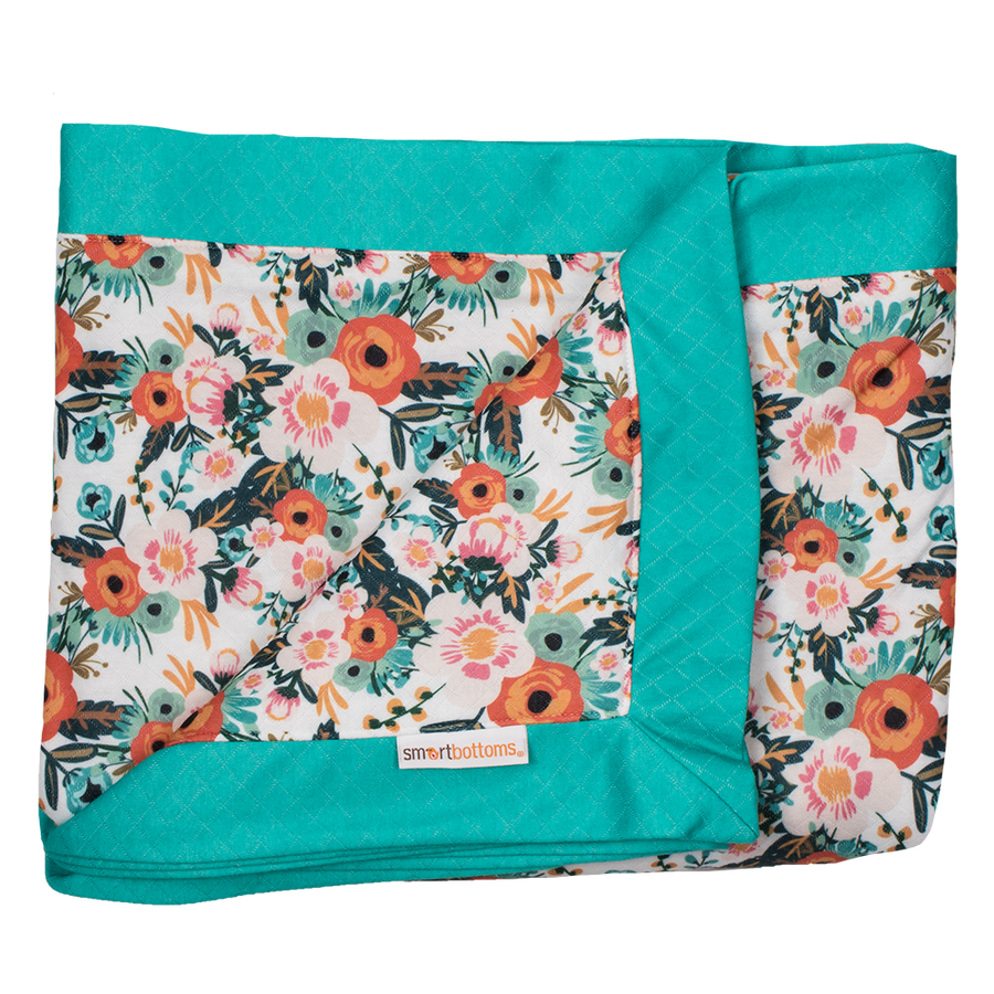 Smart Bottoms - Cuddle Blanket - Ginny poppy floral Print - orange poppies print blanket - two person blanket
