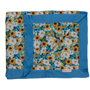 Smart Bottoms - Cuddle Blanket - Hello Sunshine Print - Adult blanket - Children's blanket - sunflower print blanket