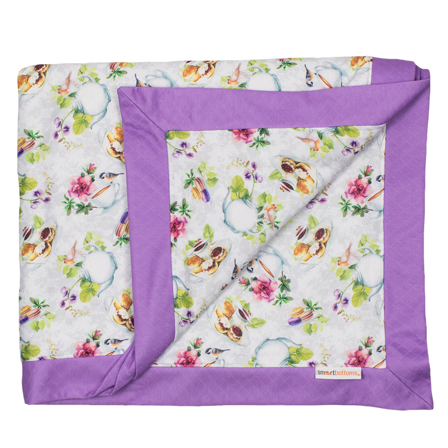 Smart Bottoms - Cuddle Blanket - Tea Party - English tea time print cotton blanket