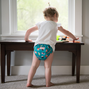 Smart Bottoms - Smart One 3.1 cloth diaper - all natural cloth diaper - You're My Soy-mate print - cute sushi diaper print - all natural cloth diaper