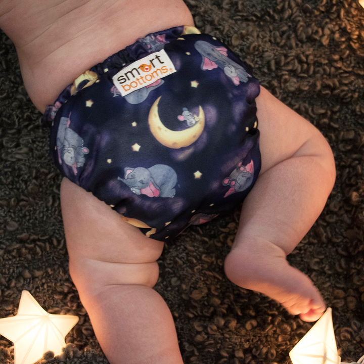 Smart Bottoms - Dream Diaper 2.0 cloth diaper - Baby of Mine print cloth diaper -  Organic cotton cloth diaper - cute elephants with mouse and moon print cloth diaper