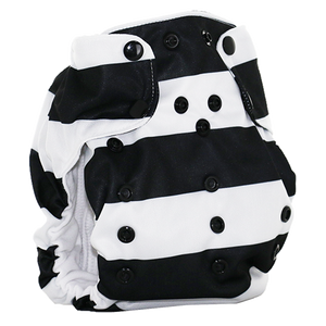Smart Bottoms - Dream Diaper 2.0 cloth diaper - Manhattan - Black and white stripe cotton cloth diaper