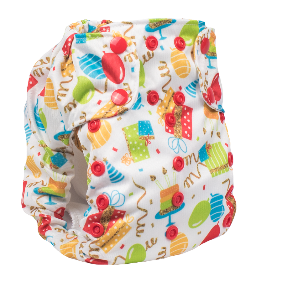 Smart Bottoms - Dream Diaper cloth diaper - Birthday Party - Balloons and streamers party print cloth diaper - organic cotton cloth diaper