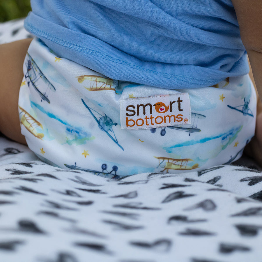 Smart Bottoms - Too Smart Diaper Cover - First Flight - Vintage airplane print diaper cover