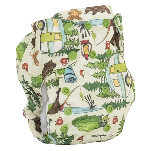 Smart Bottoms - Dream Diaper 2.0 cloth diaper - Campfire Tails animal print - organic cotton cloth diaper
