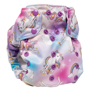 Smart Bottoms - Dream Diaper 2.0 cloth diaper - Chasing Rainbows print - organic cotton cloth diaper  - cute rainbows and unicorns cloth diaper