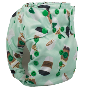 Smart Bottoms - Dream Diaper 2.0 cloth diaper - Daily Grind - green coffee print cloth diaper
