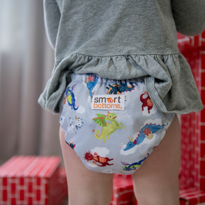Smart Bottoms - Dream Diaper 2.0 cloth diaper - Dragon Dreams print - organic cotton cloth diaper  - cute dragons cloth diaper