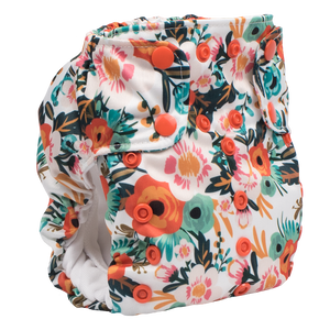Smart Bottoms - Dream Diaper 2.0 cloth diaper - Ginny orange poppy floral cloth diaper -  Organic cotton cloth diaper