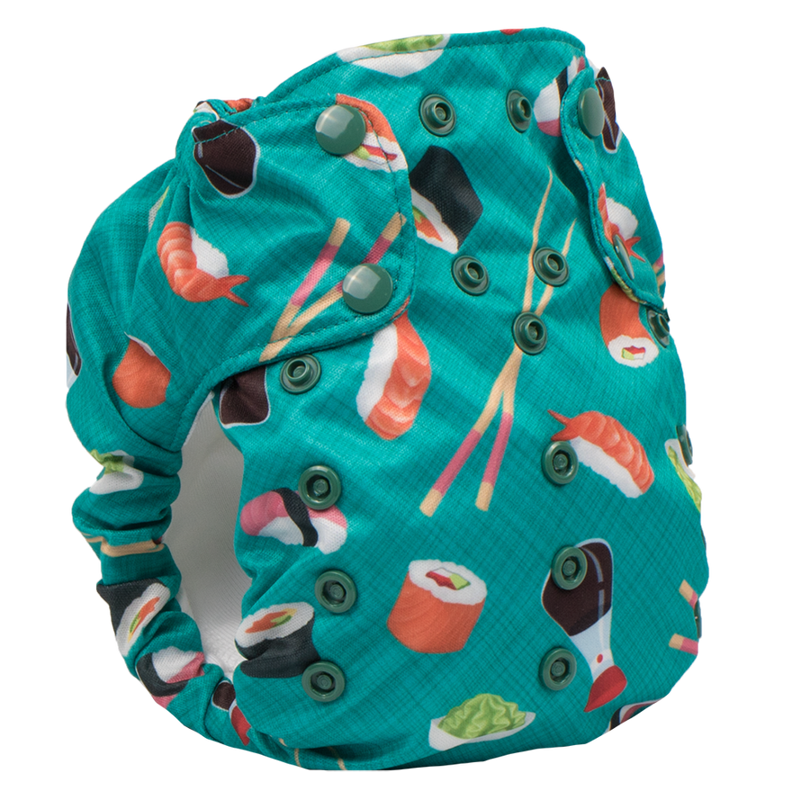 Smart Bottoms - Dream Diaper 2.0 cloth diaper - You're My Soymate print cloth diaper -  Organic cotton cloth diaper - Teal green and sushi print cloth diaper