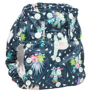 Smart Bottoms - Dream Diaper 2.0 - Tina llama print - Green llamas and succulent print cloth diaper