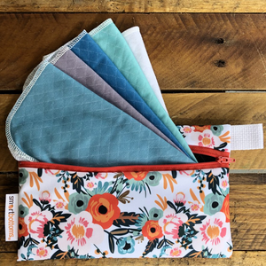 Smart Bottoms - Mini Wet Bag - Ginny Print - waterproof bag - Orange poppy floral print bag