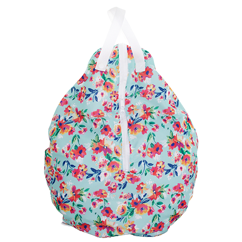 Smart Bottoms - Hanging Wet Bag - cloth diaper storage bag - waterproof cloth diaper bag - Aqua Floral print