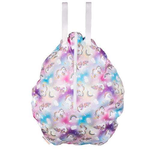 Smart Bottoms - Hanging Wet Bag - cloth diaper storage bag - waterproof cloth diaper bag - Chasing Rainbows print - Rainbows and unicorns animal print