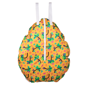 Smart Bottoms - Hanging Wet Bag - Chicka Chicka Boom Boom - waterproof cloth diaper bag - yellow bag with alphabet letters
