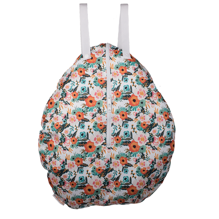 Smart Bottoms - Hanging Wet Bag - cloth diaper storage bag - waterproof cloth diaper bag - Ginny print - orange poppy floral print