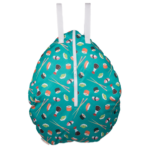 Smart Bottoms - Hanging Wet Bag - cloth diaper storage bag - waterproof cloth diaper bag - You're My Soymate print - teal and sushi print